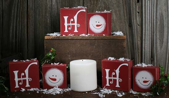 "Christmas ""Ho Ho Ho"" Snowman Wood Block Set - Christmas Holiday Sale - Sales"