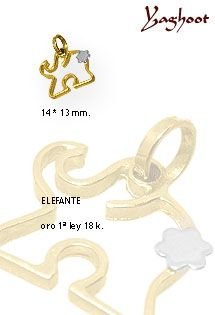 Elefante de oro bicolor de 1ª Ley (18 kilates). Al tener la trompa hacia arriba es un perfecto amuleto para la buena fortuna.