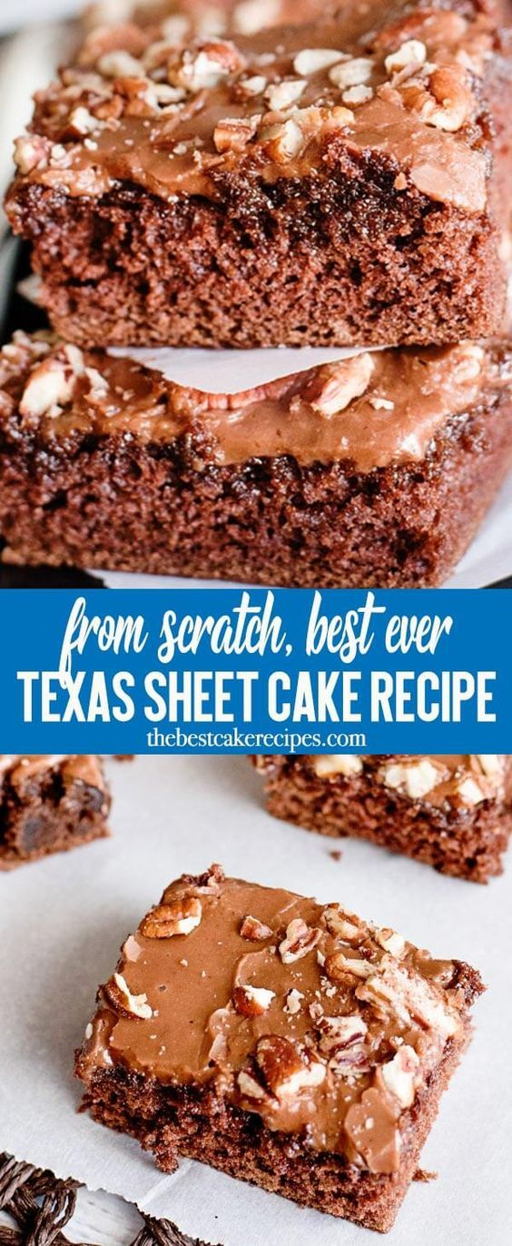 Chocolate Texas Sheet Cake with buttery cocoa frosting that melts in your mouth. This is the ultimate chocolate cake that is easy to take to potlucks. Perfect served with a scoop of ice cream! via @thebestcakerecipes