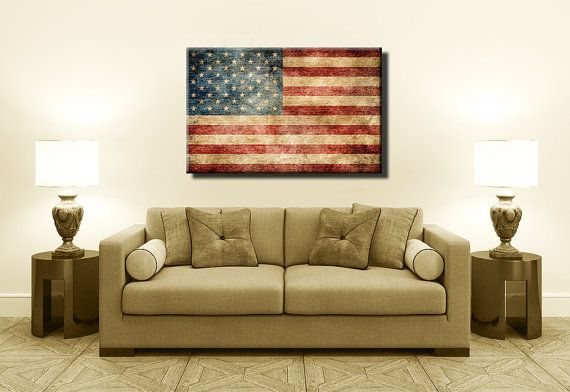Most Popular Vintage American Flag Canvas,Boys Room, Wall Decor, Wall Art, Man Cave, Gift Ideas, Custom World Flag Canvas Prints
