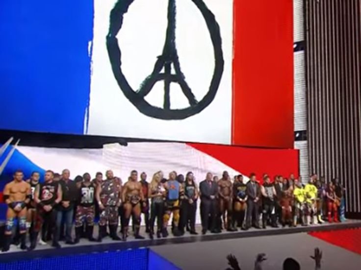 WWE's flagship show Monday Night Raw opened this week with the entire roster paying tribute to the victims of the Paris terror attacks with a moment of silence. At least 129 people were killed in the attack on Friday night. At the start of the WWE event last night, announcer Lillian Garcia told the crowd there would be moment of silence for the victims.