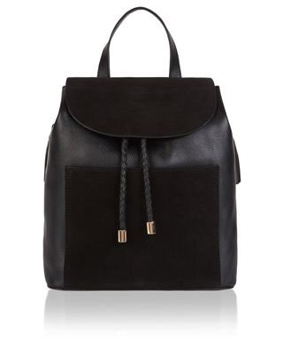 Carry off an effortlessly cool look with our Clara backpack. Fashioned with contrasting panels of black leather and suede, this sleek design is completed wit...