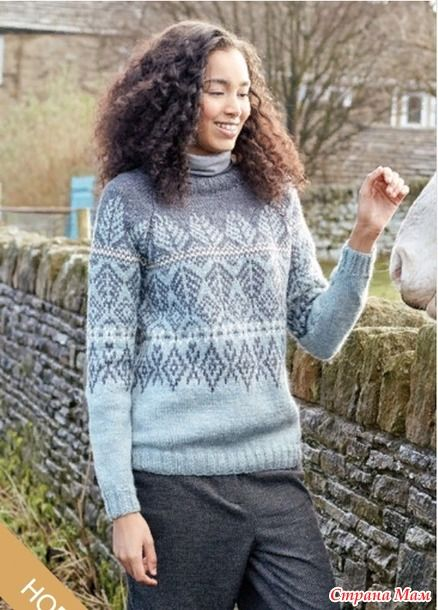 В этом шерстяном свитере используется три оттенка великолепной Твидовой пряжи, (смесь из 75% шерсти и 25% конопли).