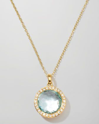 18k Gold Rock Candy Mini Lollipop Diamond Blue Topaz Necklace by Ippolita at Neiman Marcus.