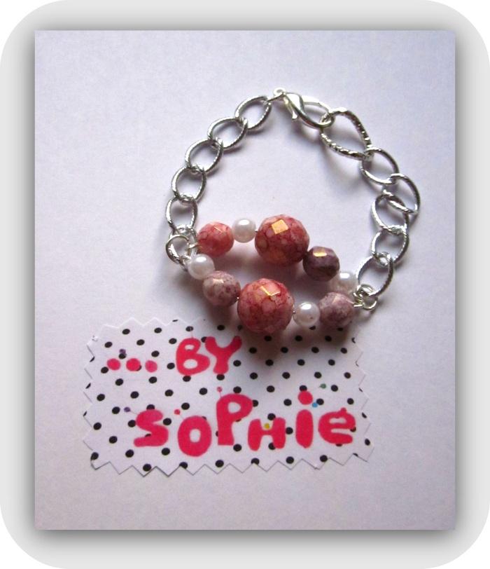 Pulsera cadena adorno perlas y rosa/lila