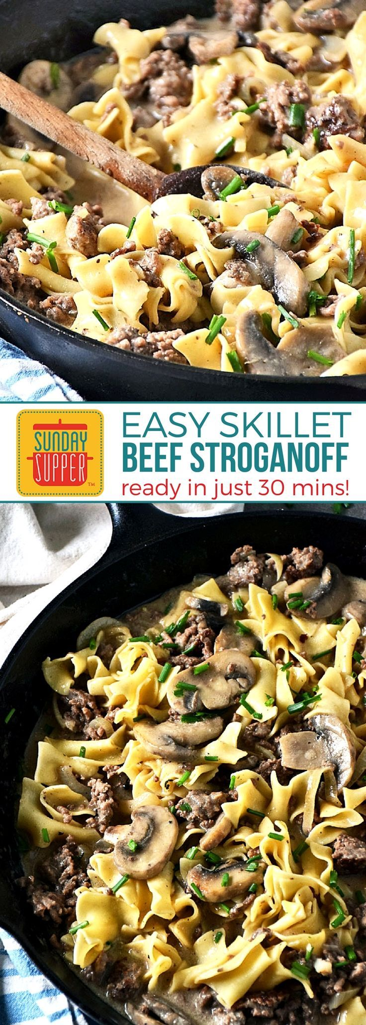 Ready in just 30 minutes, our Ground Beef Stroganoff is an easy recipe perfect for any night of the week. This budget-friendly twist on a traditional beef stroganoff recipe uses fresh ingredients for big flavor! No soup can in this recipe! A family favorite beef and pasta recipe with a deliciously tangy mushroom sauce perfect for your Sunday supper! #BeefRecipes #PastaRecipes #BeefStroganoff #EasyRecipes #SundaySupper
