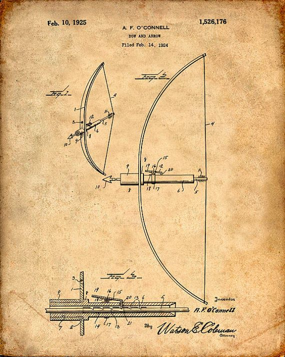 Hey, I found this really awesome Etsy listing at https://www.etsy.com/listing/199177770/patent-print-of-a-bow-and-arrow-patent