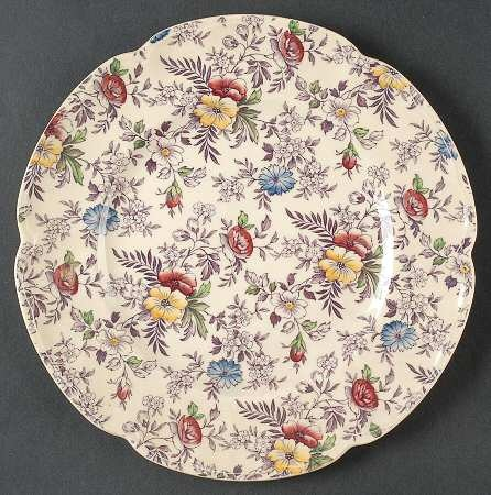 Old English Chintz by Johnson Brothers. Made in England. My mother told me when the Germans bombed England in WWII, the JB factory was hit and this mold was broken. This pattern has long been retired, and Johnson Brothers china is now produced in China.