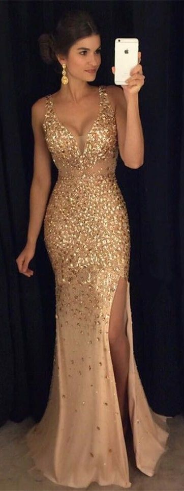 Crystal Beaded Mermaid Evening Dresses 2017,Sexy Spaghetti Straps Sweetheart Long Champagne Long Prom Gowns, Beading Prom Dress, Sexy Slit Prom Gown, Prom Dress for Teens