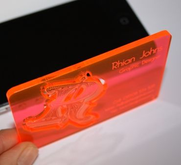 Acrylic Business Cards Laser Cut And Engraved On Plexiglass 3mm Thickness By