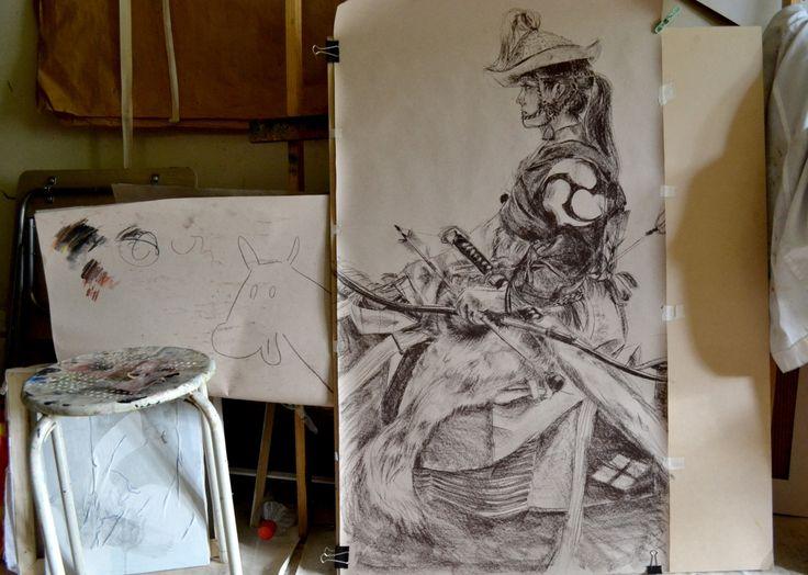 Estudiando los Yabusame; disciplina japonesa de arquería a caballo. Probablemente sea la pieza que presente en la expo de caballos de la Asociacion de pintores de la Reina, pero me faltó el caballo así que ahí está el agregado para completar.