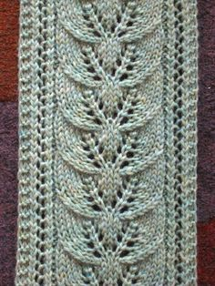 Column of Leaves Scarf Free Knitting Pattern and more lacy scarf knitting patterns at http://intheloopknitting.com/lacy-scarf-knitting-patterns/