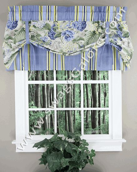 Floral Flourish Pull Valance – Porcelain – Waverly - Waverly Curtains