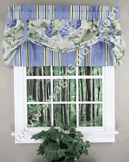 Floral Flourish Pull Valance – Porcelain – Waverly - Waverly Curtains