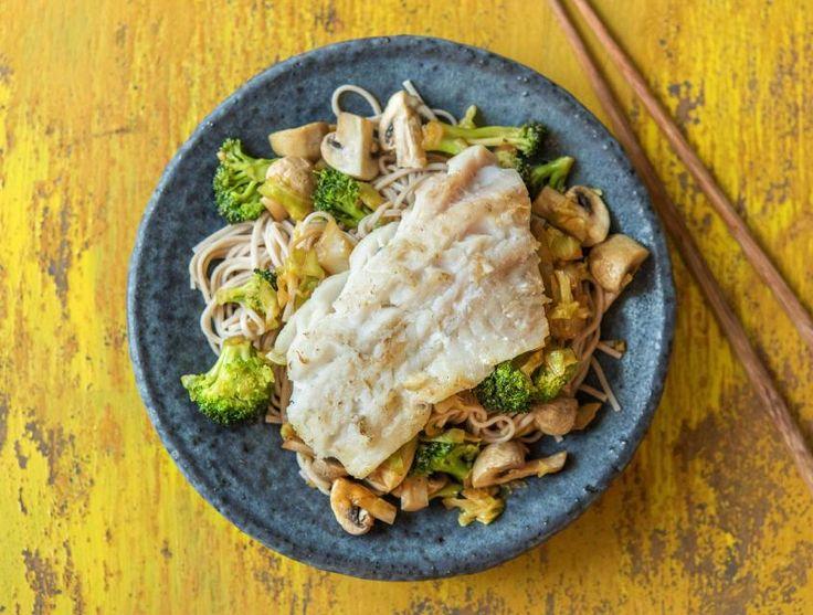 Japanse noedels met zachte witvis en geurige gember