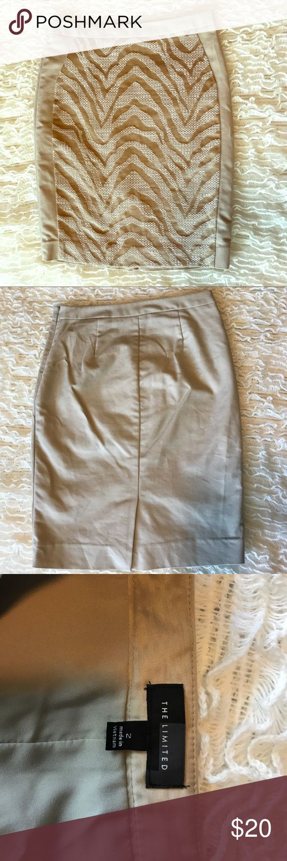 The Limited Khaki Pencil Skirt with Zebra Inset The Limited Khaki Pencil Skirt with Zebra Inset. In good used condition but shows some signs of wear. Size 2. The Limited Skirts Pencil