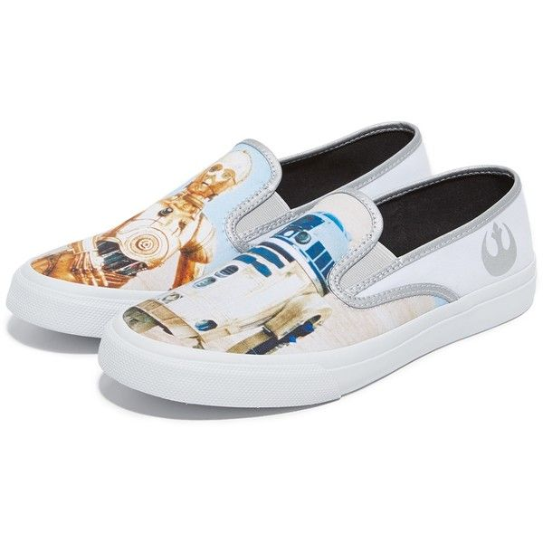 Sperry x Star Wars DROIDS Cloud Slip On Sneakers ($23) ❤ liked on Polyvore featuring men's fashion, men's shoes, men's sneakers, mens leopard print shoes, mens canvas slip on sneakers, mens canvas sneakers, mens canvas slip on shoes and mens rubber sole shoes