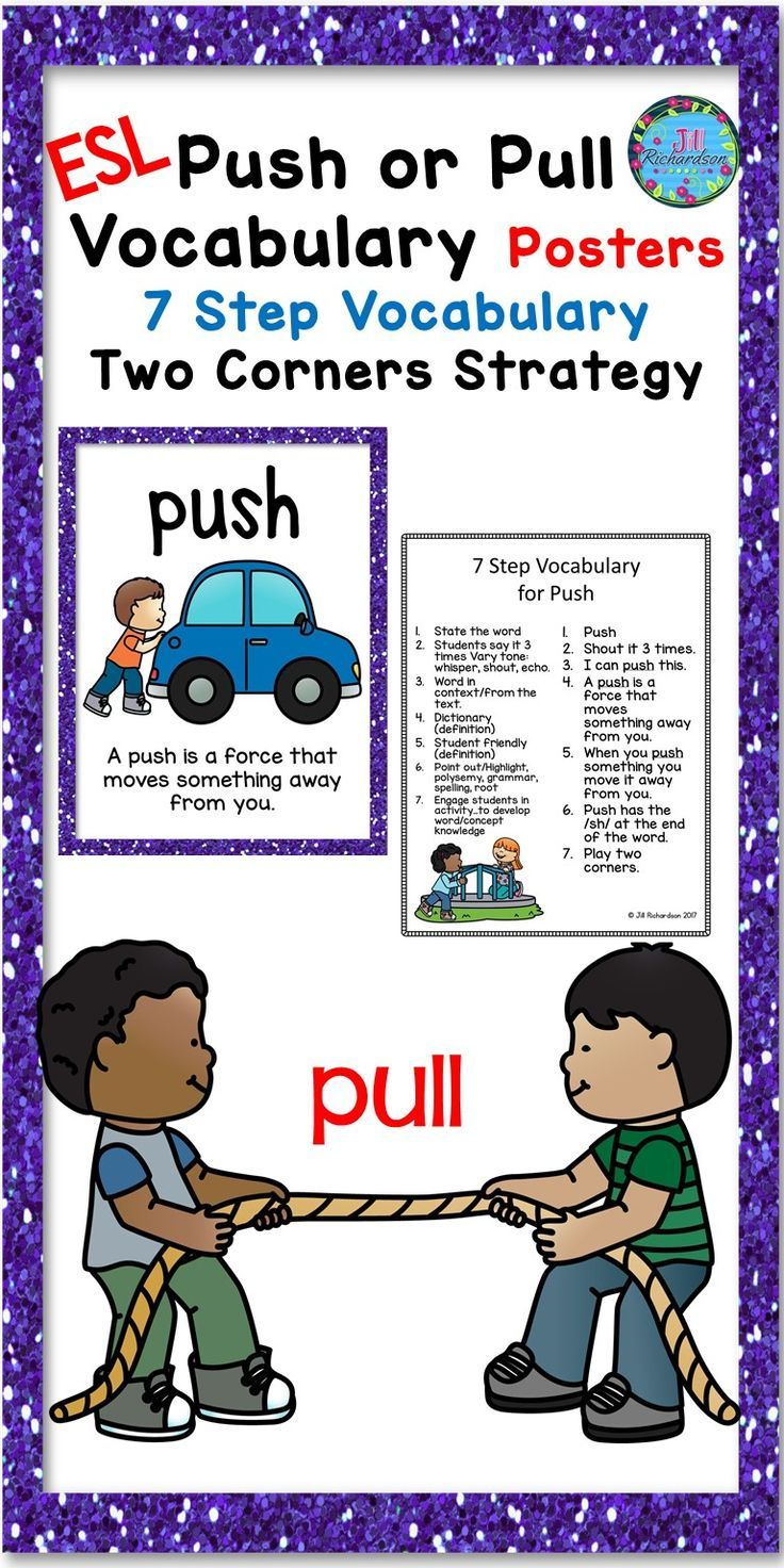 Push And Pull Vocabulary Posters Esl Science Ell Resources Vocabulary Posters Esl Vocabulary Force And Motion [ 1472 x 736 Pixel ]