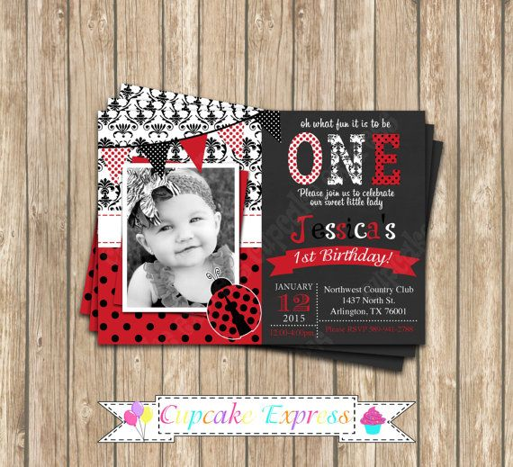Ladybug first Birthday Invitation DIY  PRINTABLE by CupcakeExpress