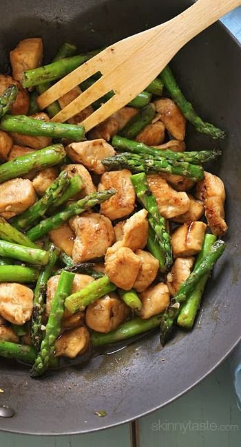 Chicken and Asparagus Lemon Stir Fry/This is delicious. #healthy #cooking