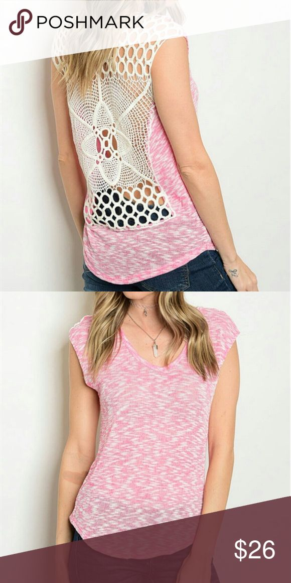 """Pink Lace Crochet Cut Out Top New pink lace designer back top. 72% polyester 24% Rayon 4% spandex. L. 25"""" B. 34"""" W. 36"""". See boutique for more fashions! Follow us to see New items posted daily!  #love #beauty #makeup #fashion #swimsuit #streetwear #style #trend #boho #matte #201 #designer #crop #mid #wedding #marriage #women #plussize #plus #petite #small #medium #large #unicorn #brush #gold #silver #human #hair #dress #shirt #short #top #sunglasses #watches #jewelry #choker #multilayer…"""