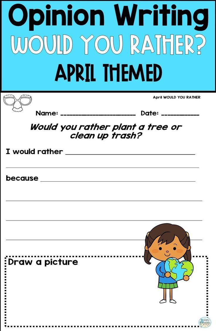 April Opinion Writing Opinion Writing Elementary Writing Prompts Fun Writing Prompts [ 1126 x 736 Pixel ]