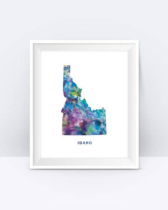 Idaho Map Print Boise Print Idaho Poster Boise Map #idaho #map #usa #artprint #watercolor