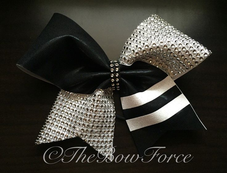 Elegant Black White Silver Bling Cheer Bow by TheBowForce on Etsy https://www.etsy.com/listing/259278448/elegant-black-white-silver-bling-cheer