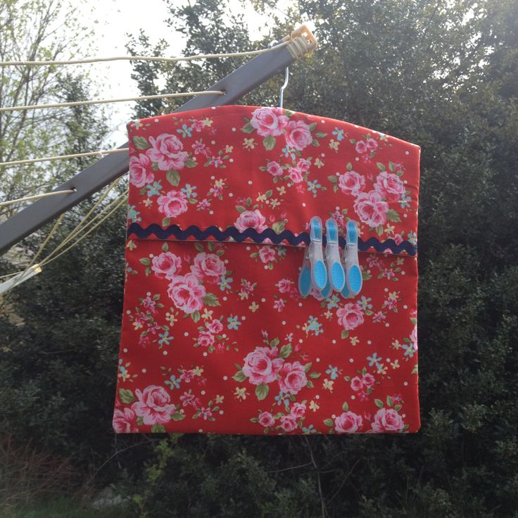 Peg Bag, laundry peg bag, handmade in a beautiful red floral fabric and  fully lined. by JoSewsHandmade on Etsy