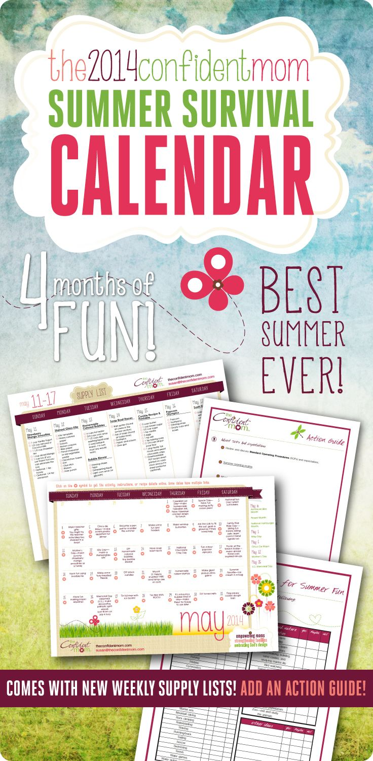 The 2014 Summer Survival Calendar includes everything you need to develop your summer goals, set a plan in motion, stay organized, and increase quality family time!