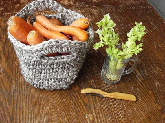 Crochet Basket Linen Rope Cord Natural by ELITAI on Etsy,