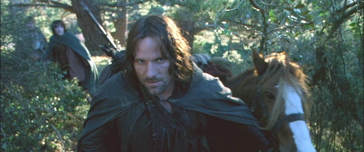 """Frodo: """"Where are you taking us?"""" Aragorn: """"Into the wild."""" - Lord of the Rings: The Fellowship of the Ring"""