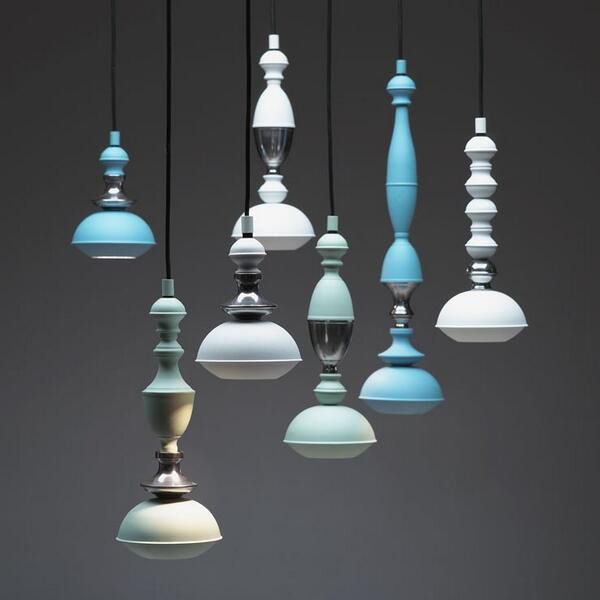 the Benben, by the Netherlands based design studio Jacco Maris, laces a series of bead-like shapes to create five modern-day totems. The pendants are available in a series of pastel colors as well as black and white. Accent metal options include brass and high gloss steel.
