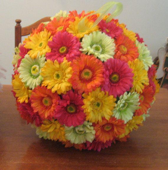 18 Gerber Daisy Kissing Ball silk flower by annemusingdesigns, $140.00