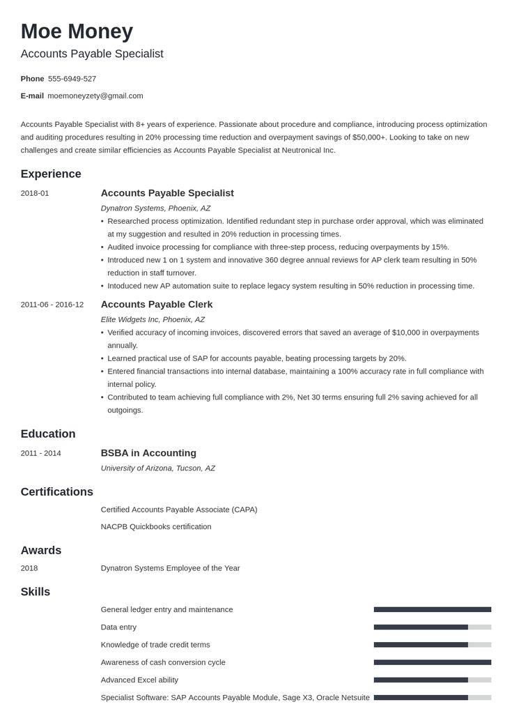 accounts payable resume example template minimo  resume