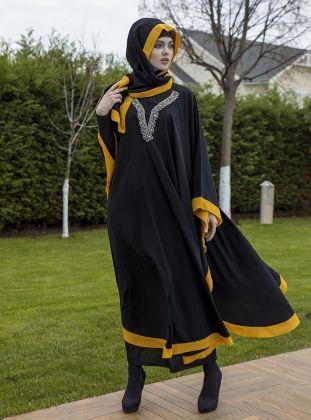 Abaya - Black - Ferrace By Arzu Ergen