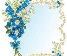 Piękny kwiat z retro ramki wektor materiału 06