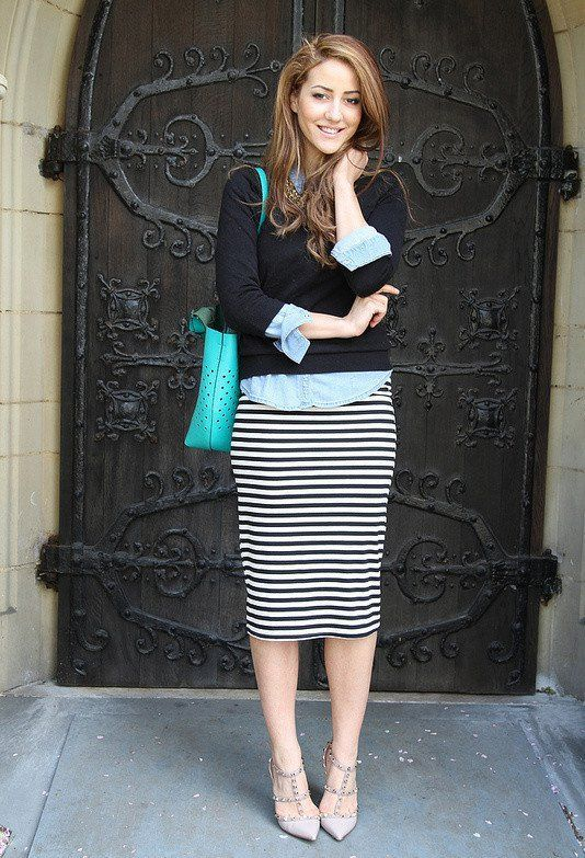 SMART CASUAL[autumn]: striped pencil skirt; denim shirt; black jumper; blue accessories