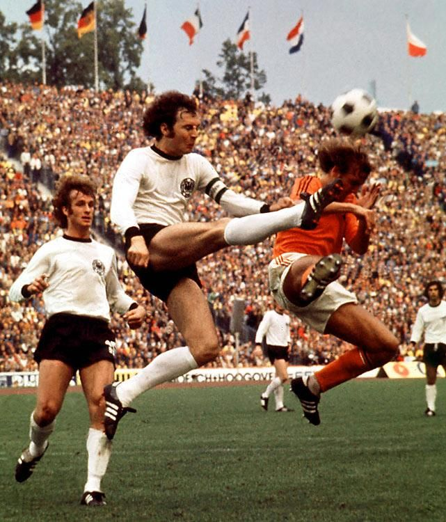 West Germany vs Netherlands in the 1974 World Cup final. The final score was 2-1 to West Germany. 1974
