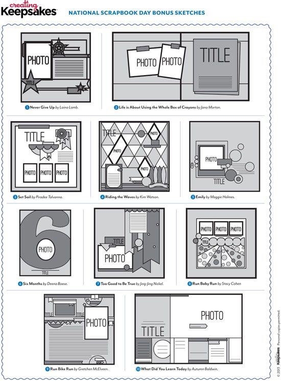 Creating Keepsakes National Scrapbook Day Sketches: 10 Digital Templates and Bonus Sketches | National Scrapbooking Day 2013 | C