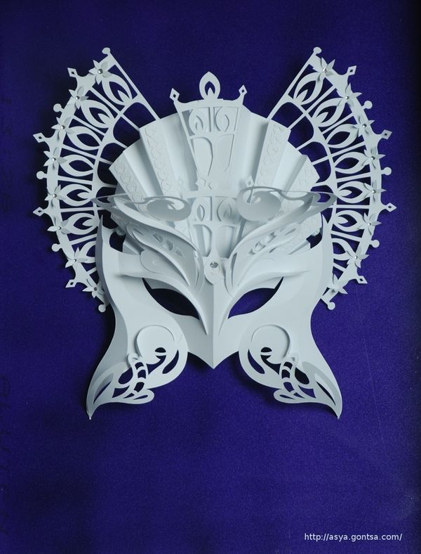 (use snowflake cutting techniques to add to mask) Paper Masks by Asya Gontsa, via Behance