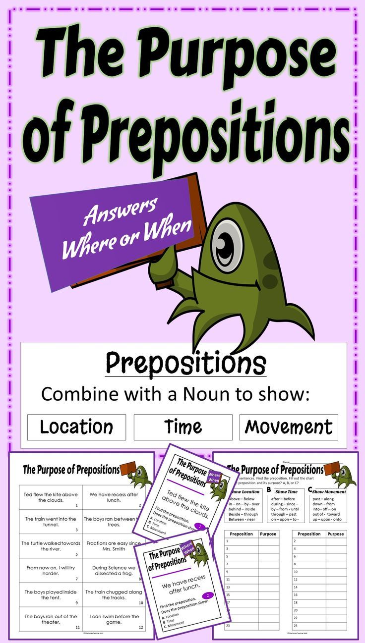 Locate the preposition in a sentence and determine the function. This standards aligned activity will help the students understand how a preposition functions within a sentence. The activity focuses on what the preposition does, shows location, time, or movement. 24 sentences provide lots of practice on this hard concept.