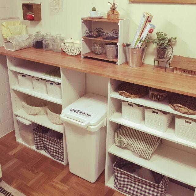 Yuriさんの、キッチン,ダイソー,ナチュラル,カラーボックス,雑貨,100均,DIY,ニトリ,見せる収納,キッチン収納,のお部屋写真