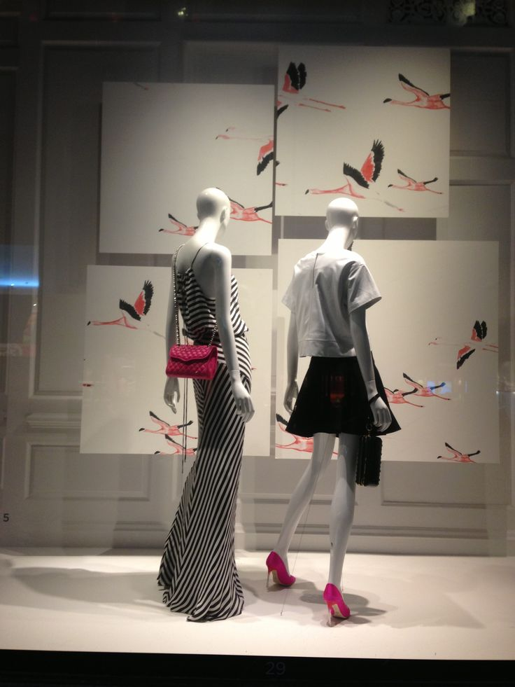 "Saks Fifth Avenue,NY,artwork title: ""the Pink flamingos fly of to there habitat in Kenya"", that's lovely Shelly, pinned by Ton van der Veer"
