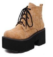 Haute qualité femmes bottes 2016 lace up high top cheville bottes plate-forme semelle épaisse fond creepers chunky bloc talons triffle chaussures