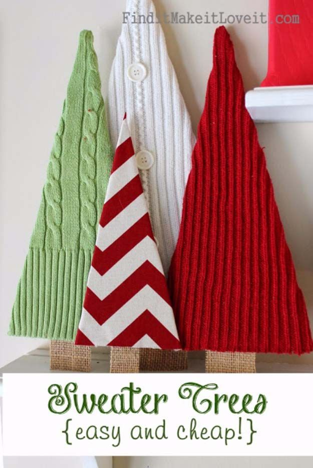 Awesome DIY Christmas Home Decorations and Homemade Holiday Decor Ideas - Quick and Easy Decorating ideas, cool ornaments, home decor crafts and fun Christmas stuff  | Crafts and DIY projects by DIY Joy  |  Sweater Trees  |  http://diyjoy.com/diy-christmas-decor-holiday-decorations
