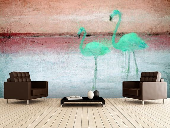 Flamingo Pink Green Wall Mural Room Setting