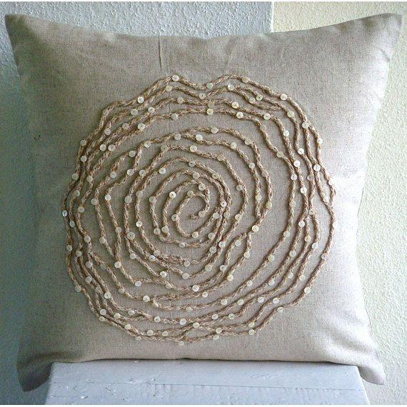 Cuscini Ecru.Ecru Throw Pillow Covers Square Rose Flower Jute Cord Floral