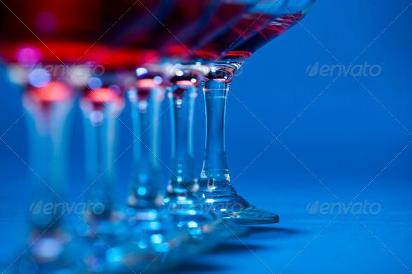 Wine glasses aligned in line