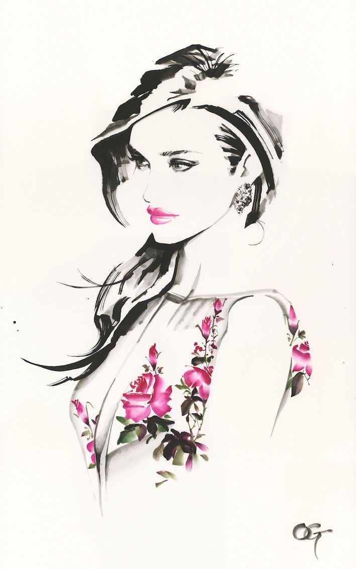 #Rosie_Huntington_Whiteley #OHGUSHI #Fashion_illustration #Cosmetic…